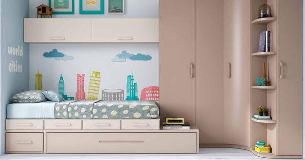 Habitaci n juvenil linea modular con 2 camas novedades for Habitacion juvenil 2 camas