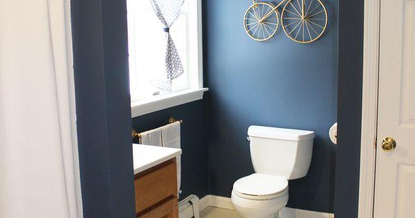 boys bathroom , benjamin Moore Newburyport Blue, West Elm rug and shower curtain , Lauren Lowe ...