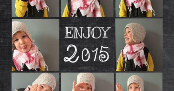 Originele nieuwjaarskaart 2015 kerstkaart met foto 39 s van je gezin of kind op chalkboard - Origineel foto kind ...