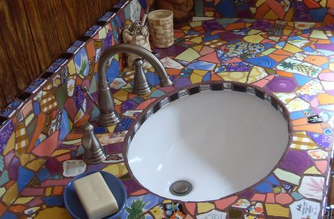 Mosaic vanity grouted moza eken badkamers en badkamer - Idee mozaieken badkamer ...
