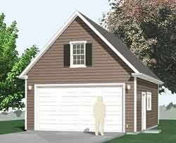 Compact 2 Car Garage With Framed Attic Roof And 10 Ft Walls 20x20 Garage Plans Garage Plans With Loft Attic Renovation