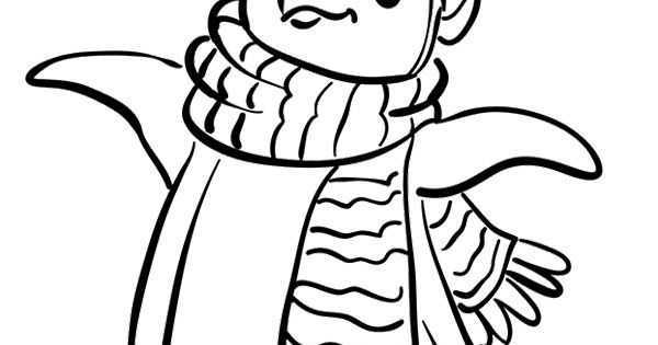 Penguin Wear A Scarf Coloring Page - Penguin Coloring Pages ...