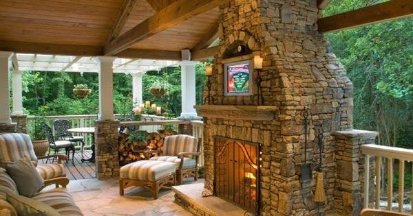 outdoor space ie: back porch with stone fireplace