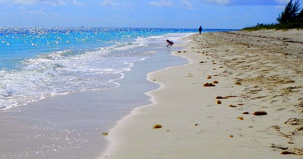 Walking along the beach in Freeport, Bahamas