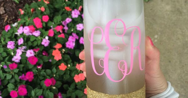 monogram glitter camelbak water bottle by daydreamdrinkware