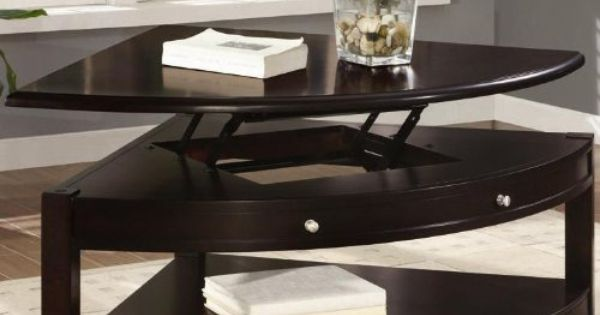 Pie Shaped Coffee Table With Lift Top In Dark Brown Walnut Finish Furniture Decor