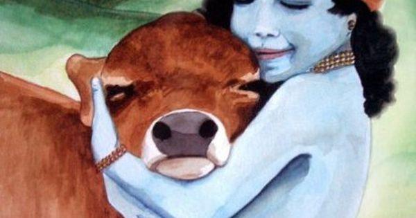 krishna hugging a cow | Krishna | Pinterest | Krishna, Cow ...
