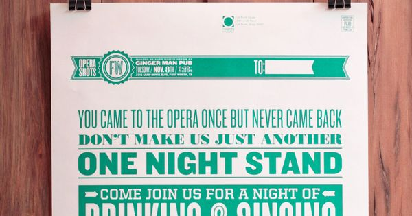 One Night Stand flyer for the Fort Worth Opera by Matchbox Studio