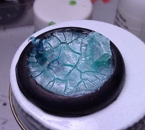 A While Ago I Stumbled Upon Upon A Type Of Clear Paint Named Distress Crackle Paint Rock Candy That Cracks Wh Miniature Bases Mini Paintings Crackle Painting