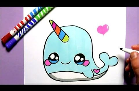 Comment dessiner une baleine licorne kawaii dessin kawaii et facile youtube kawaii - Dessin licorne facile ...