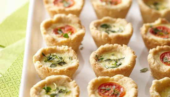 Our savory Mini Party Quiches are made with a Parmesan crust and