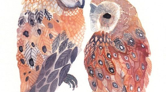 Illustration mint owl birds painting