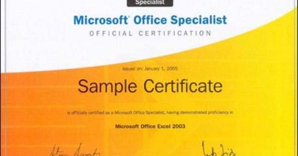 Microsoft Office Specialist Certification Microsoft Office Ms