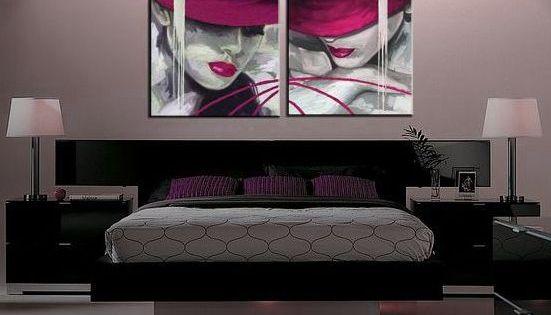 Cuadros rosa fucsia modernos dormitorios comedor salon - Pintura comedor moderno ...