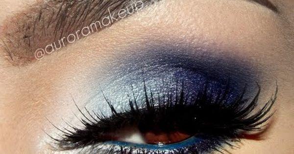 Deep blue smokey eye eyes eye makeup eyeshadow dark smokey dramatic