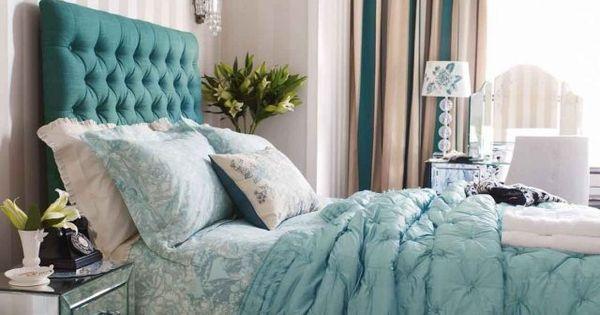 ideen schlafzimmer vorhänge türkis beige fensterrollos | Drossel ...