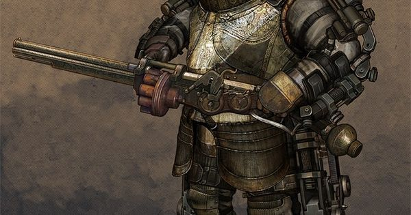 Steampunk power armor with a large caliber repeating rifle ...