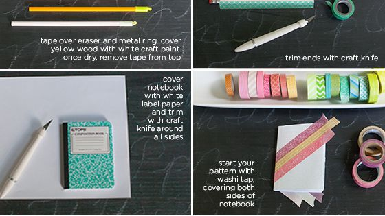 DIY Washi Tape Pencils and Notebooks