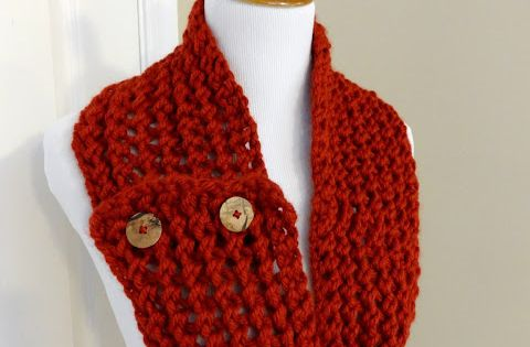 Knit Scarf Pattern With Button Hole : Cinnabar Button Scarf (Free Knitting Pattern) Fiber Flux Knitting Pintere...