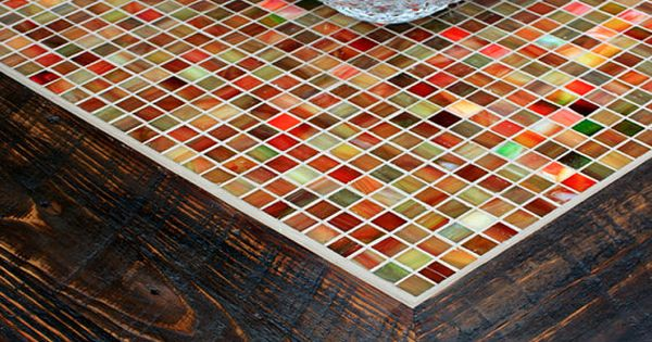 Square Coffee Table With Shelf Tile Mosaic Reclaimed