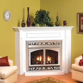 Empire Embc2s Corner Wooden Mantel Cabinet With Base For 36 Inch
