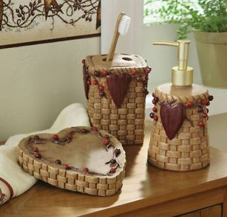 Country Bath Accessories Primitive Hearts And Stars Hanging Wall Decor Vine Berry Bathroom Sets Bathrooms