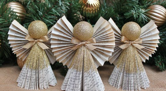 Book Angel Ornaments Set Of 3 Book Angel By