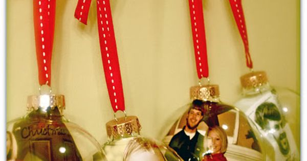 DIY picture ornaments using glass ornaments and a ribbon with a pop