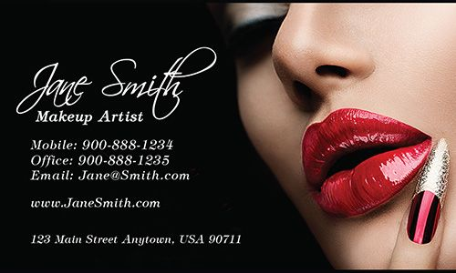 Red Lips Beautician And Makeup Artist Business Card Design 601131 Makeup Artist Business Cards Design Makeup Artist Business Cards Artist Business Cards