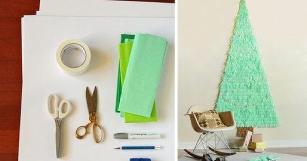 Un rbol de navidad de papel de seda diy navidad - Como hacer un arbol de papel grande ...