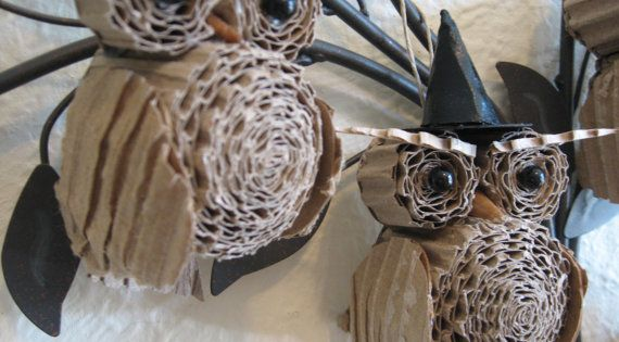 halloween owl crafts | Halloween Owls made out of cardboard | Halloween