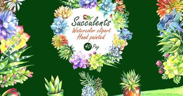 Watercolor Succulents Clip Art Set by FINEDIGITALARTS on @creativemarket