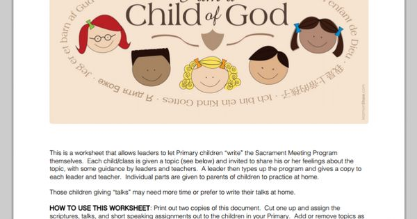{ Mormon Share } I am a Child of God Sacrament Meeting ...