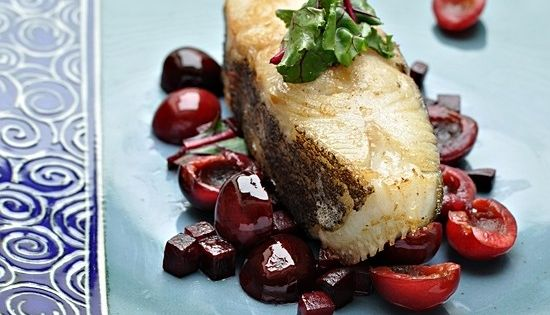 Halibut with Cherries and Beet | Cooking: Fish | Pinterest | Halibut ...