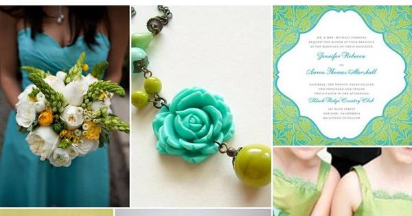 Wedding color scheme | Tiffany Blue, Chartreuse White