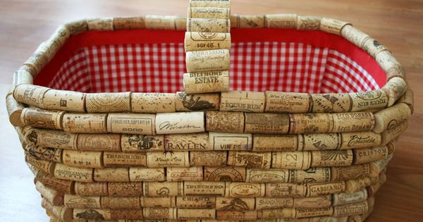 DIY cork covered picnic basket Misc