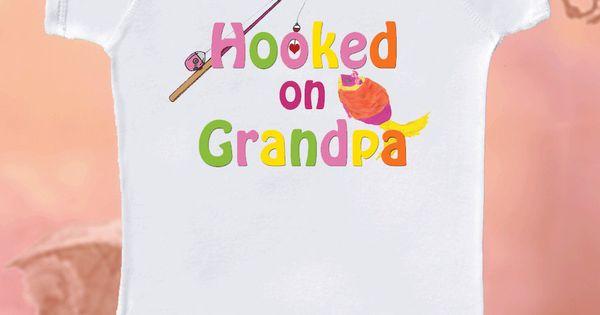Grandpa Baby Outfit Grandpa Baby Bodysuit Grandpa Baby: Cute Girl Onsie Hooked On Grandpa Fishing Onesie For Girls