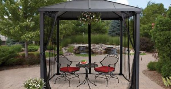 Better homes and gardens sullivan ridge hard top gazebo with netting 8x8 gardens home and Better homes and gardens gazebo