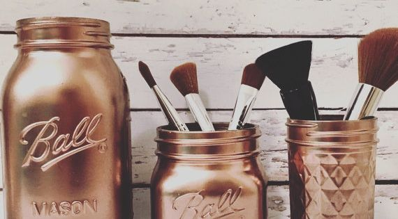 Give your bathroom some shine with this makeup brush holder set in rose gold while this set is - Make bathroom shine ...
