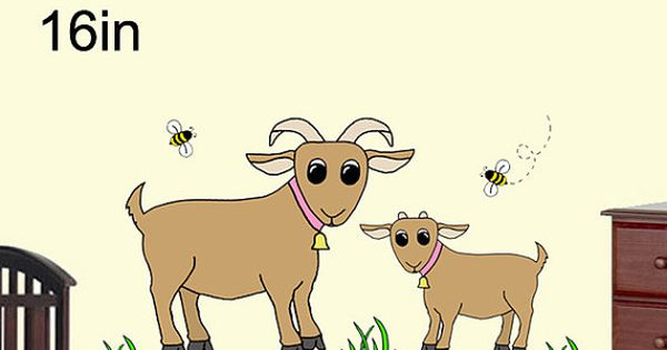 Diy barnyard goat wall art mural pattern digital download for Do it yourself nursery decor