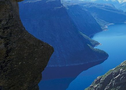 Trolltunga, Norway. Love the view! (Don't think I'd be sitting off the