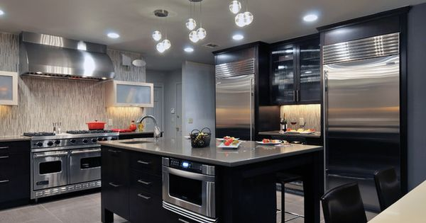 Charming Contemporary Kitchen For Commercial Kitchen Design Decorated With Black  Kitchen Furniture Combined With Silver Kitchen Countertop I.. Part 13