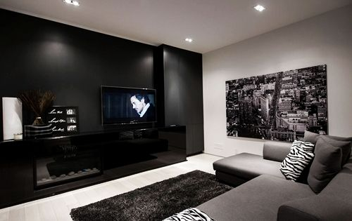 Nice and cozy living room with black white and grey for Grey black and white living room