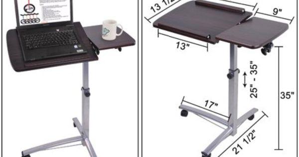 rolling laptop desk w tiltable split top table hospital food tray computer pc. Black Bedroom Furniture Sets. Home Design Ideas