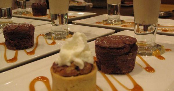 Trio of Desserts, Pecan Tart, Chocolate Bouchon & Petite ...