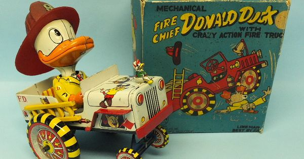 Vintage Linemar Fire Chief Donald Duck W Crazy Fire Truck