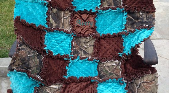 Custom Made Rag Quilt Diaper Bag And Quilt For Baby Boy Or