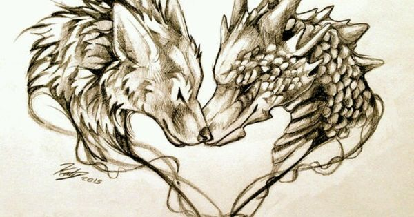 Tattoo design of wolf and dragon tattoos pinterest for Dragon and wolf tattoo