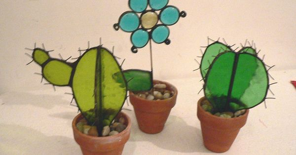 Stained glass plant cactus stained glass pinterest cactus