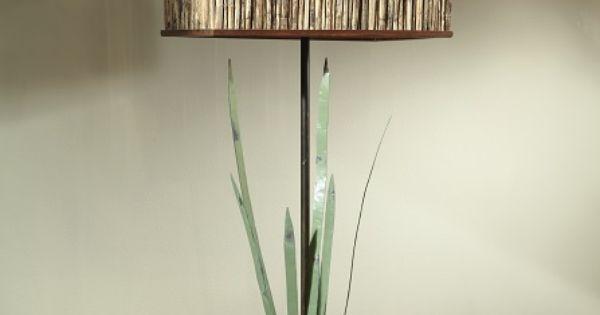 Rustic Bronze Marsh Grass Lamp With Reed Shade Lighting